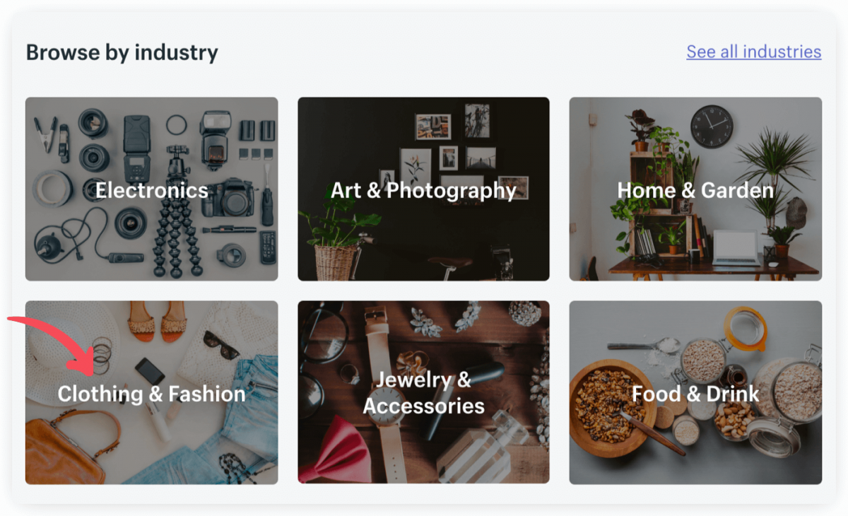 Online store themes by categories