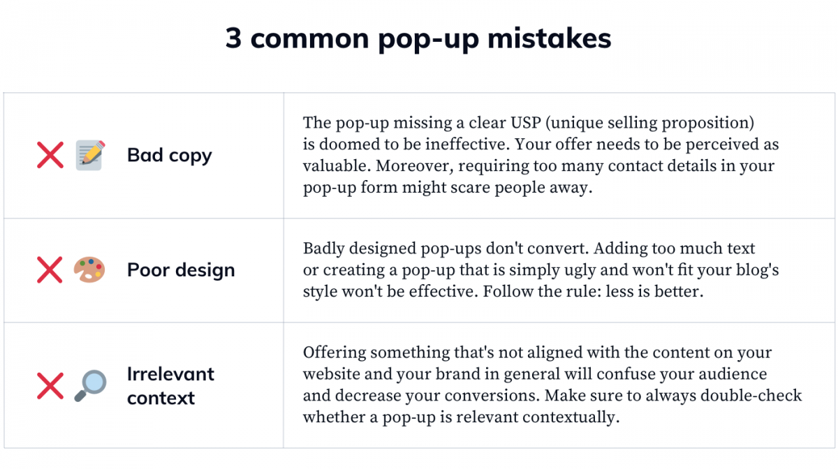 Common Pop-Up Advertising Mistakes