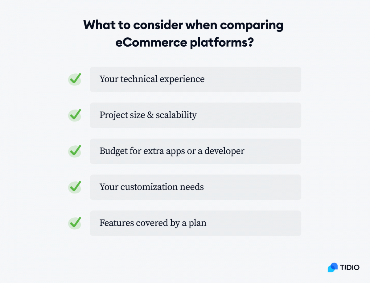 What to consider when comparing eCommerce platforms checklist