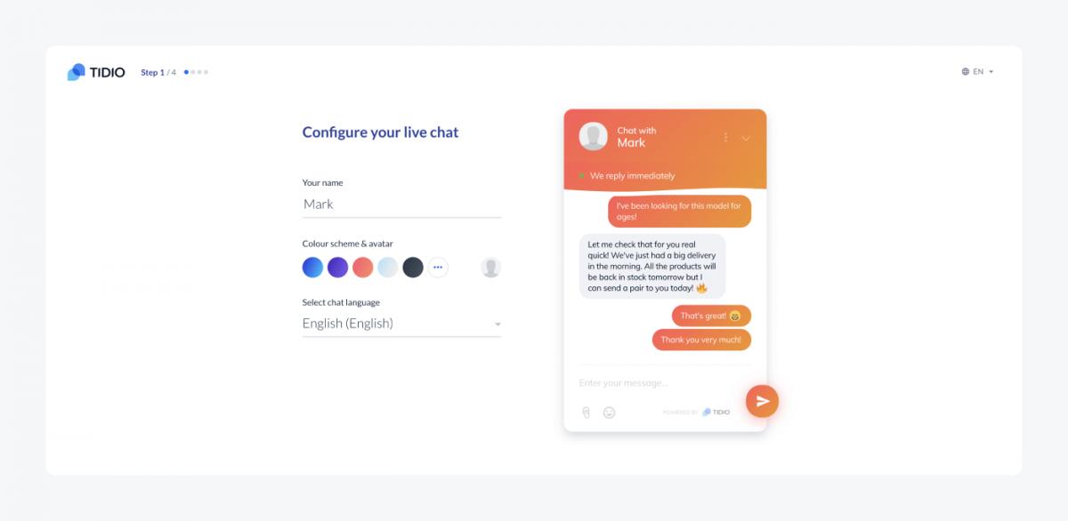 Live chat widget customization options