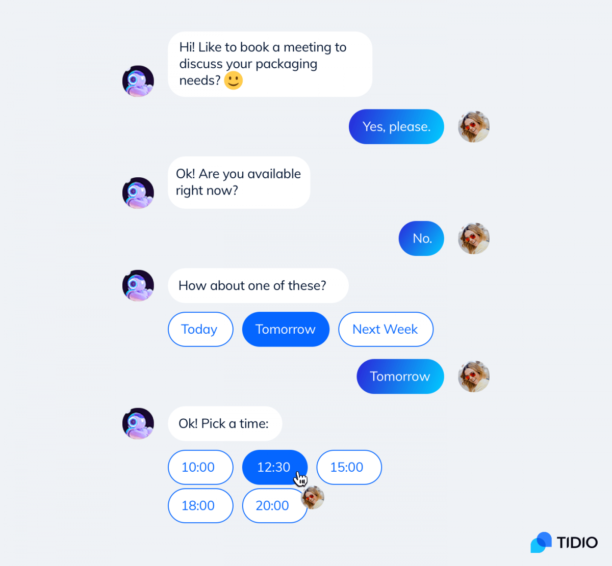 A conversational chatbot books a meeting with a website visitor