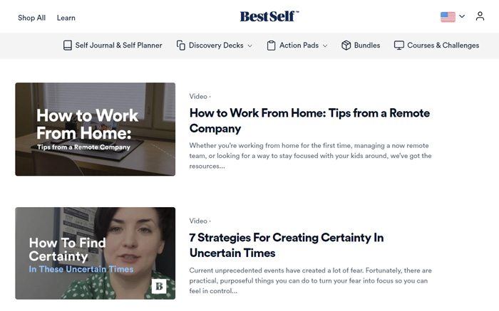 A screenshot of BestSelf blog with articles about Coronavirus