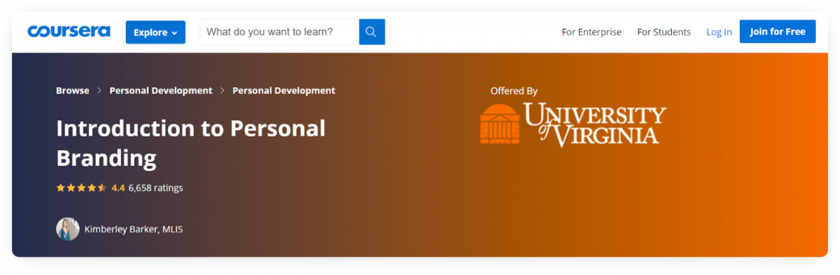 A course about personal branding from University of Virginia