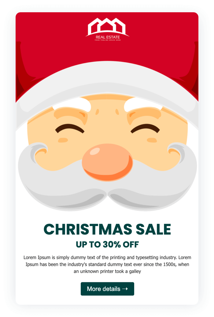 Email newsletter example - Cozy Christmas