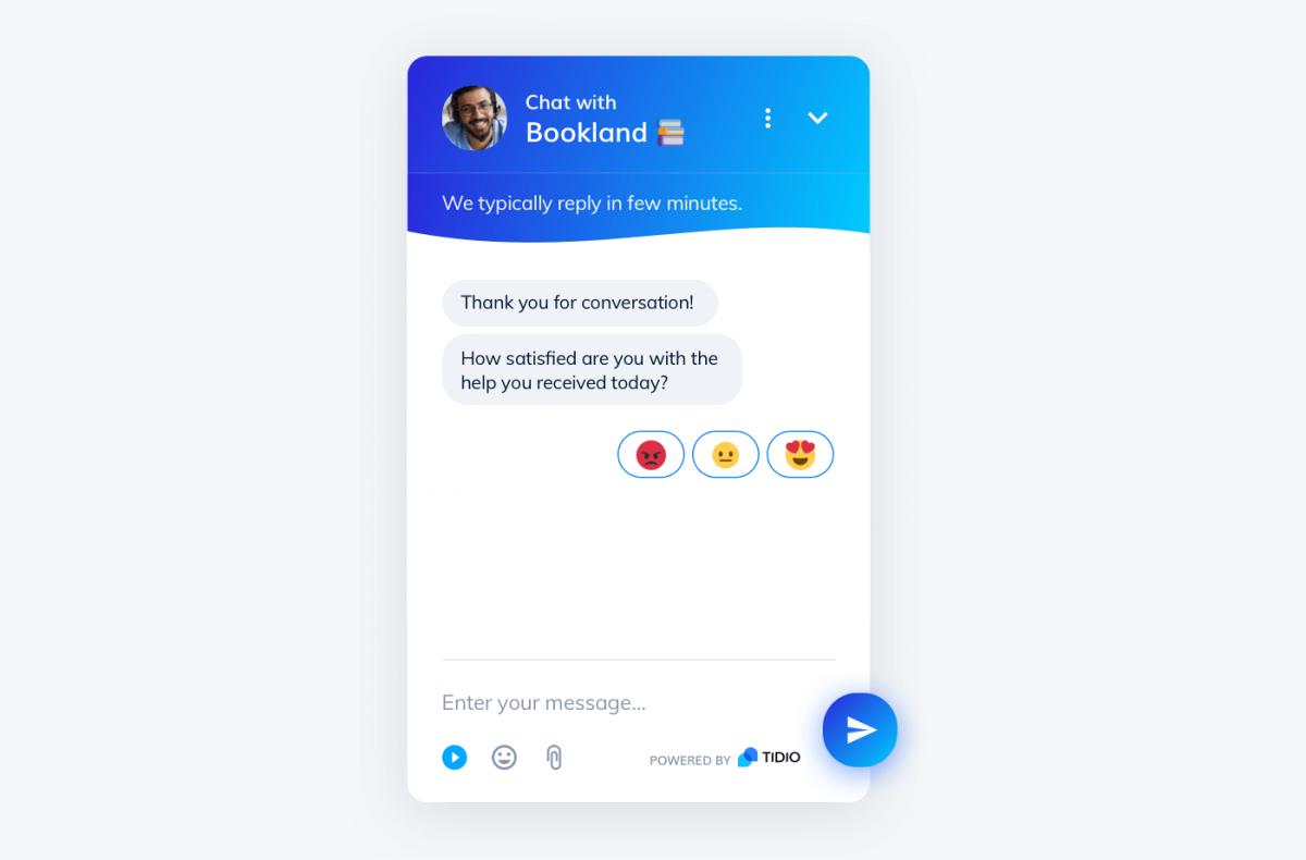 Customer satisfaction chatbot in Tidio widget