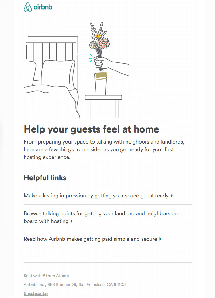 Customer onboarding email example from Airbnb