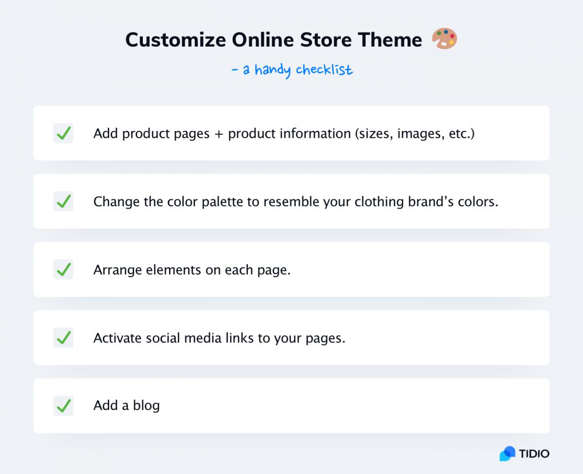 Customizing your online clothing store theme