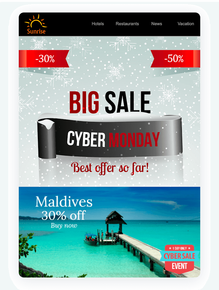 Email newsletter example - Big Sale