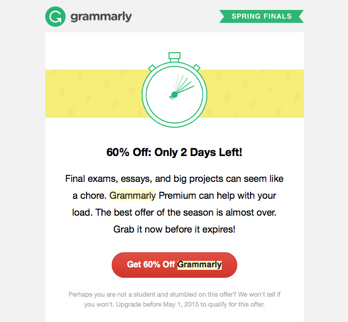 Customer onboarding email example from Grammarly