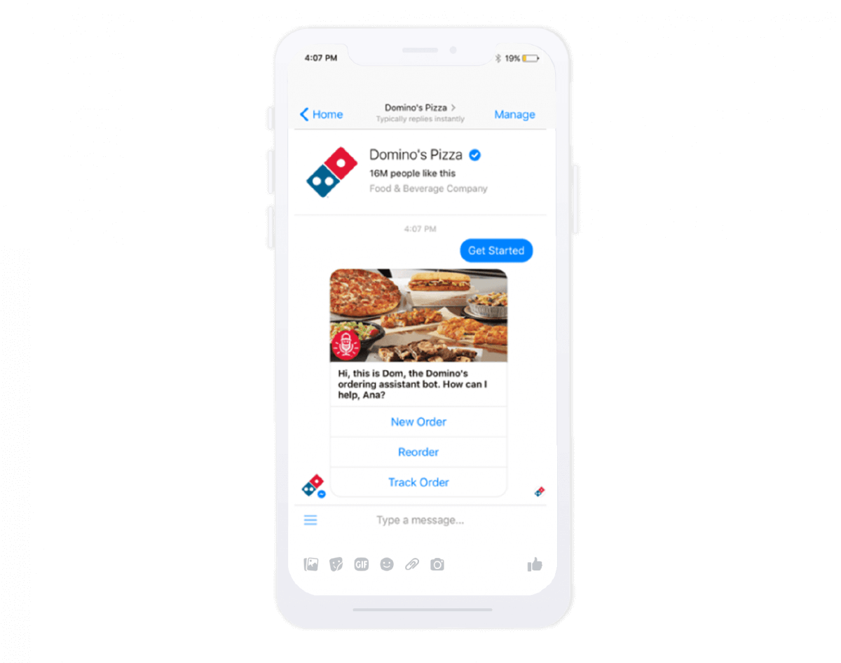 Restaurant chatbot - Domino's messenger chatbot which takes care of customers' orders