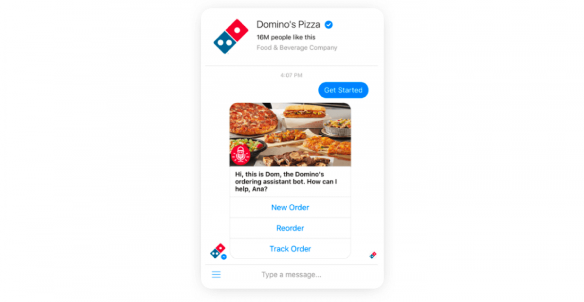 A chatbot conversation example from Domino's