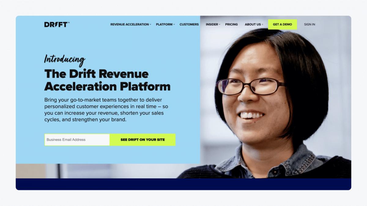 Drift's homepage