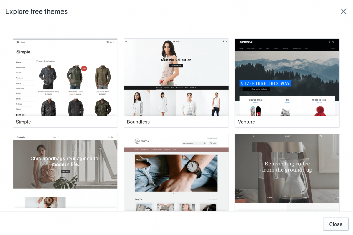 Shopify themes for eCommerce and dropshipping