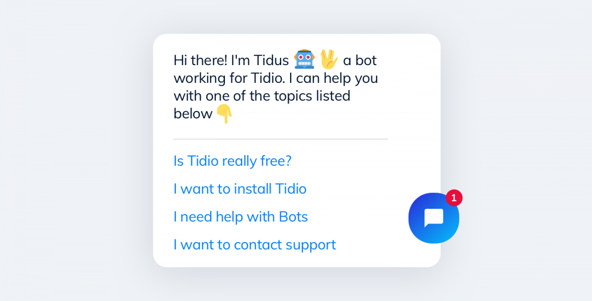 Screenshot of the Tidio Chatbot