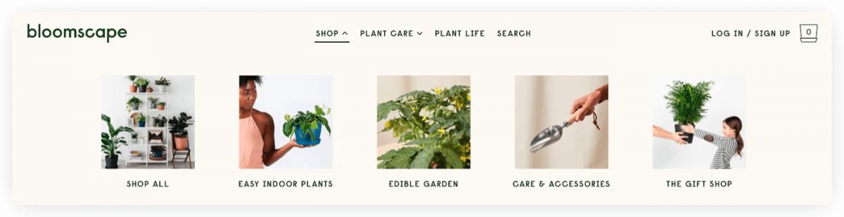 Bloomscape website navigation