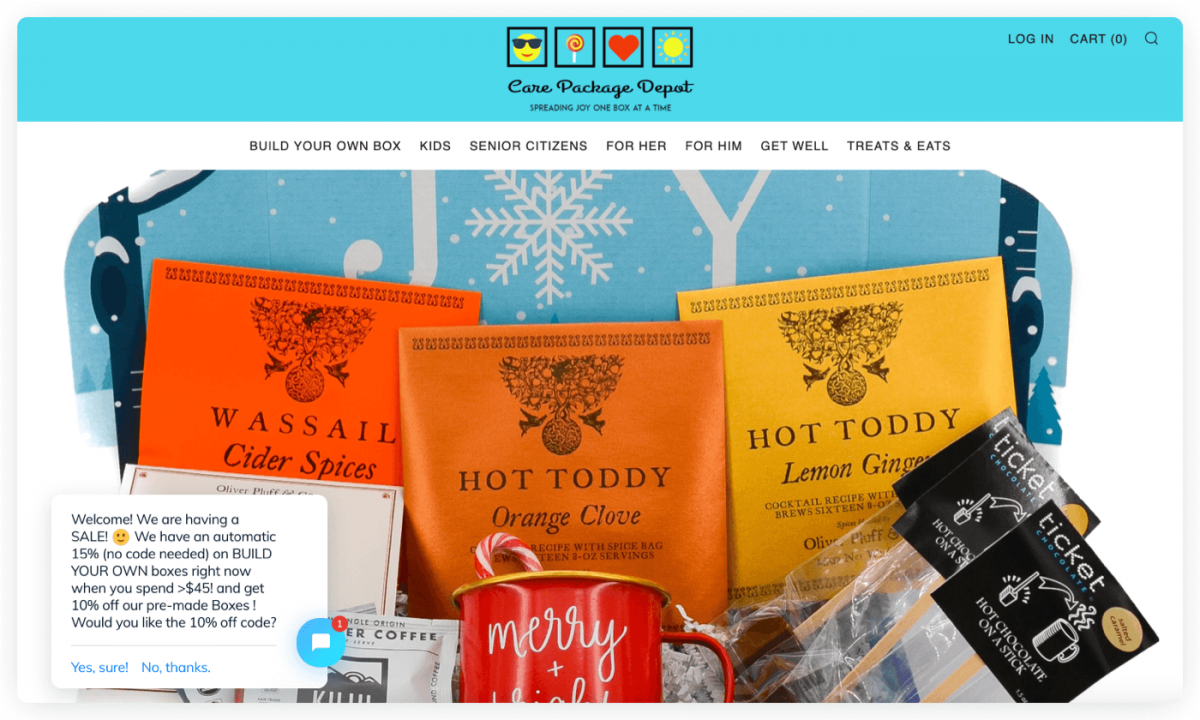 Care Package Depot homepage