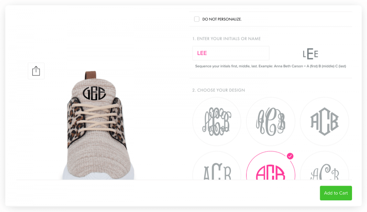 Marleylilly's customizable sneakers
