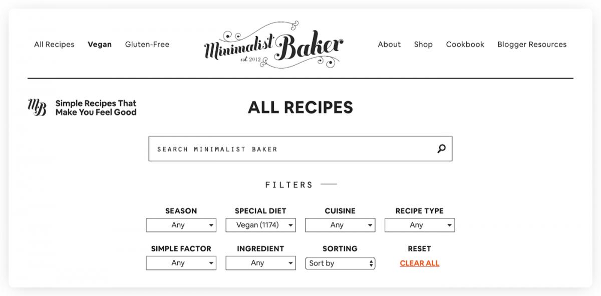 Minimalist Baker recipes browser
