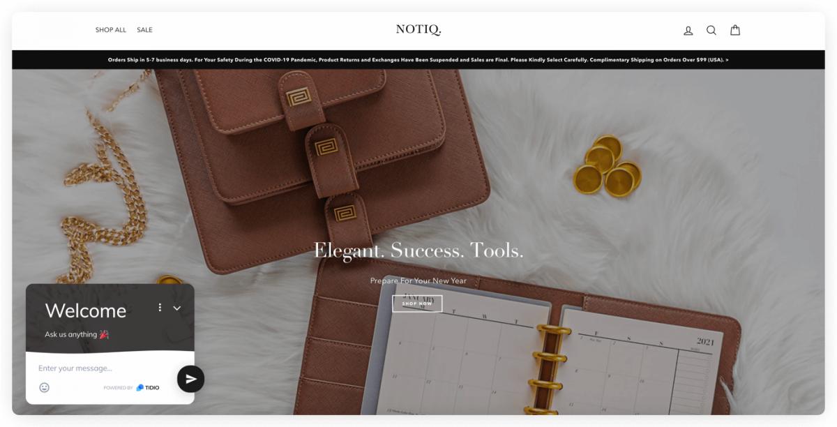 Notiq homepage