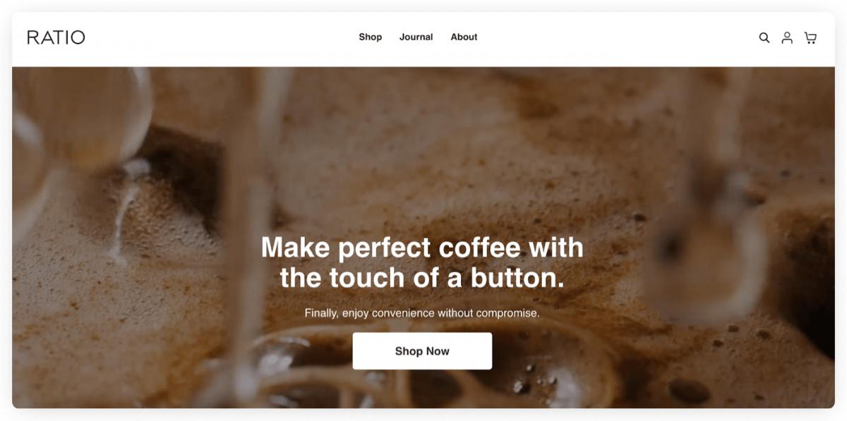 Ratio Coffee homepage