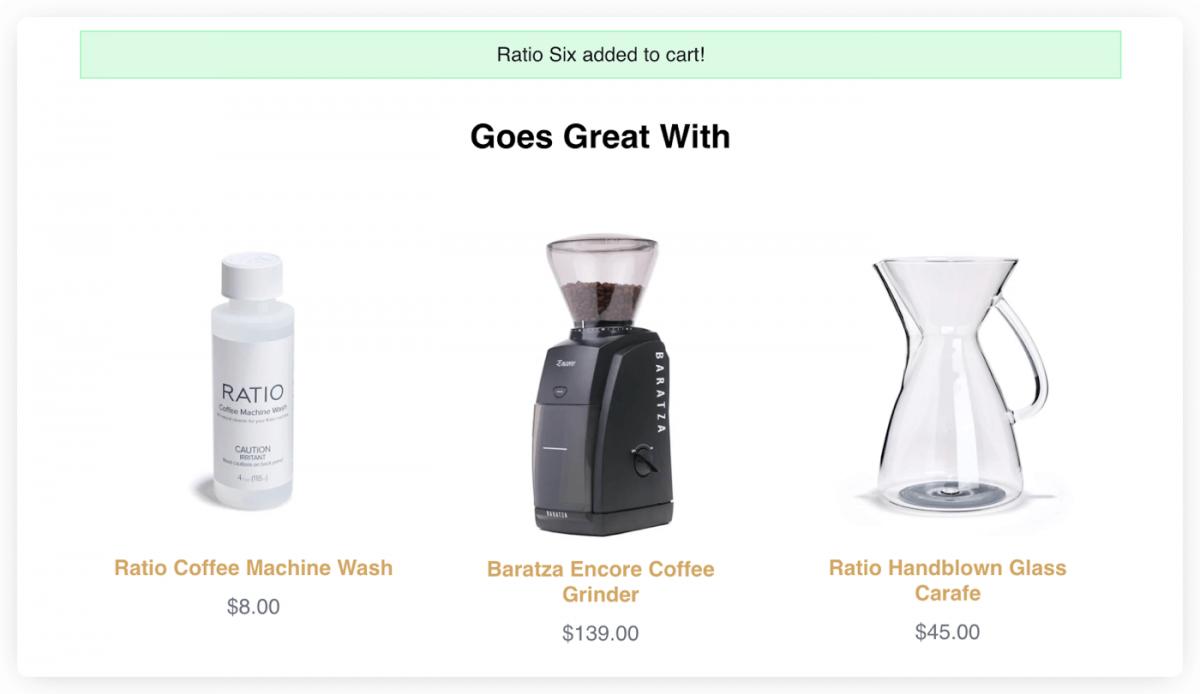 Ratio Coffee product browsing