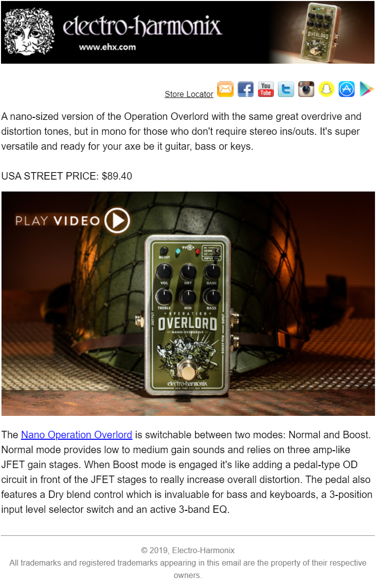 An Electro-Harmonix email campain with EHX logo in email header and Operation Overloard guitar pedal video