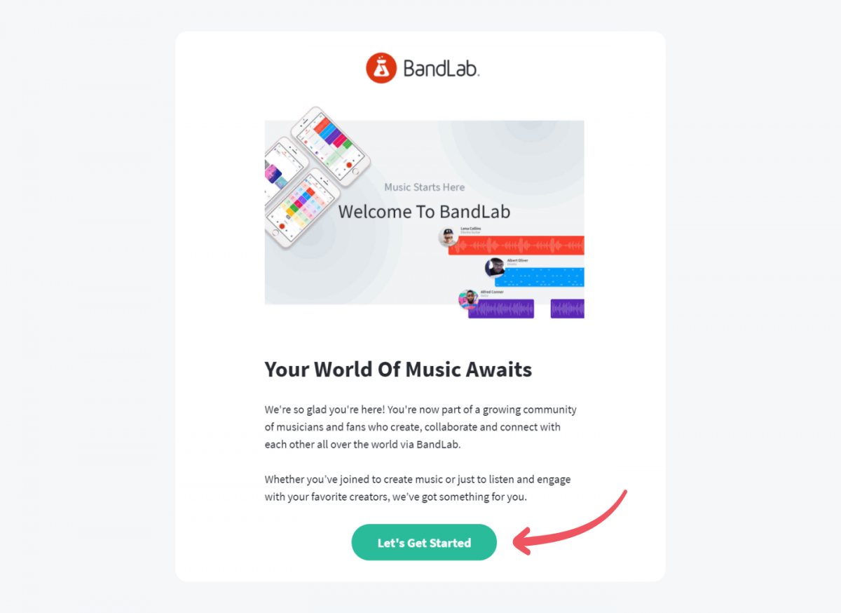 A welcome message example from BandLab