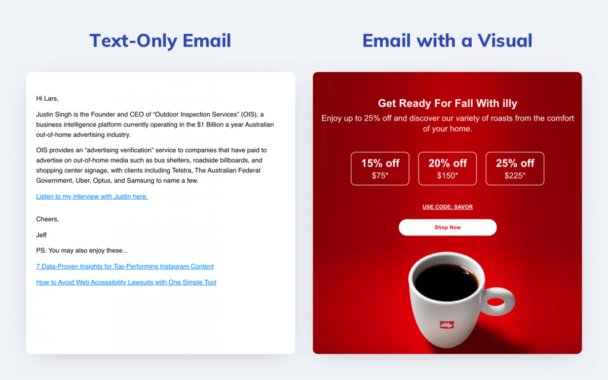 Text-only email vs visual email designed with an editor