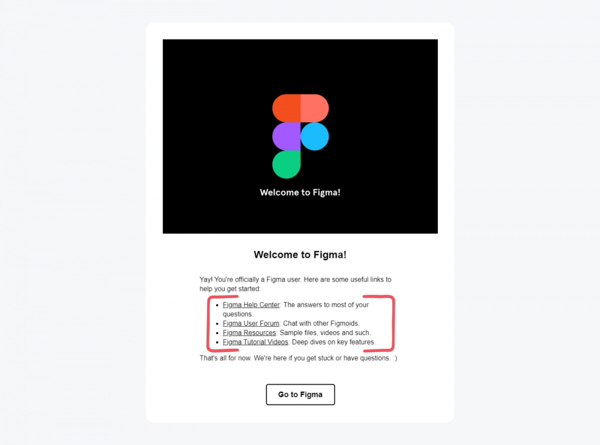A welcome message example from Figma