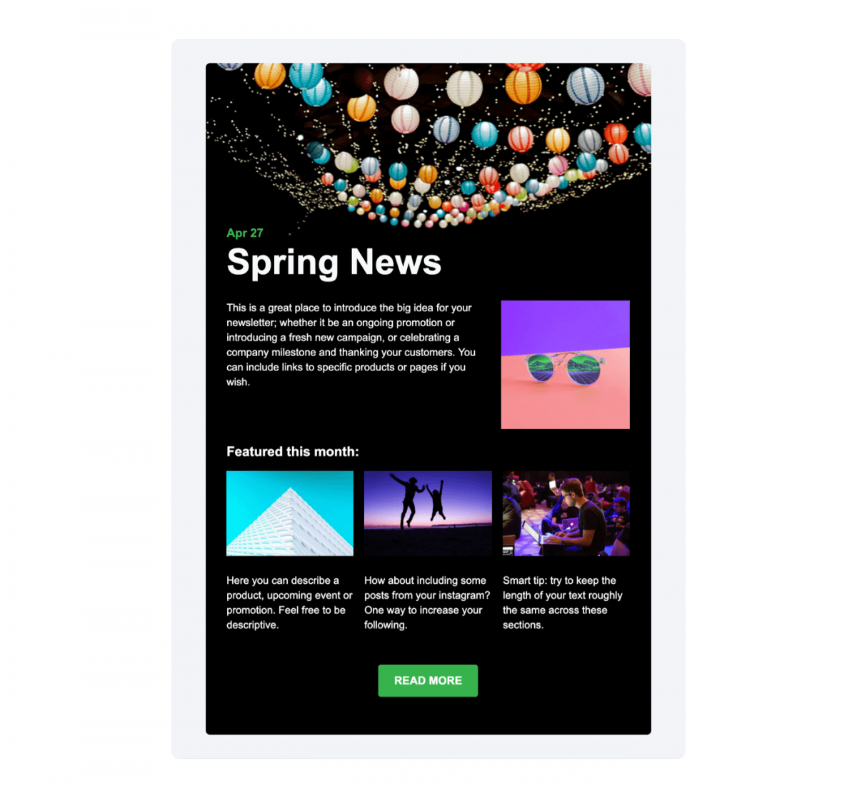 A dark-mode example of newsletter email template available in Tidio Mailing