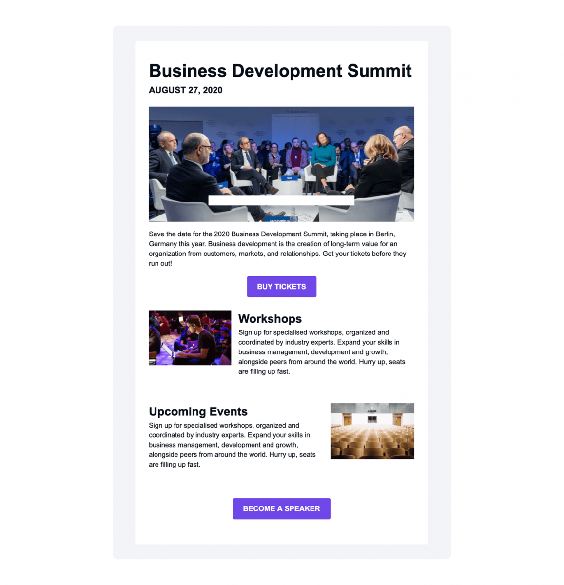 A business example of newsletter email template available in Tidio Mailing