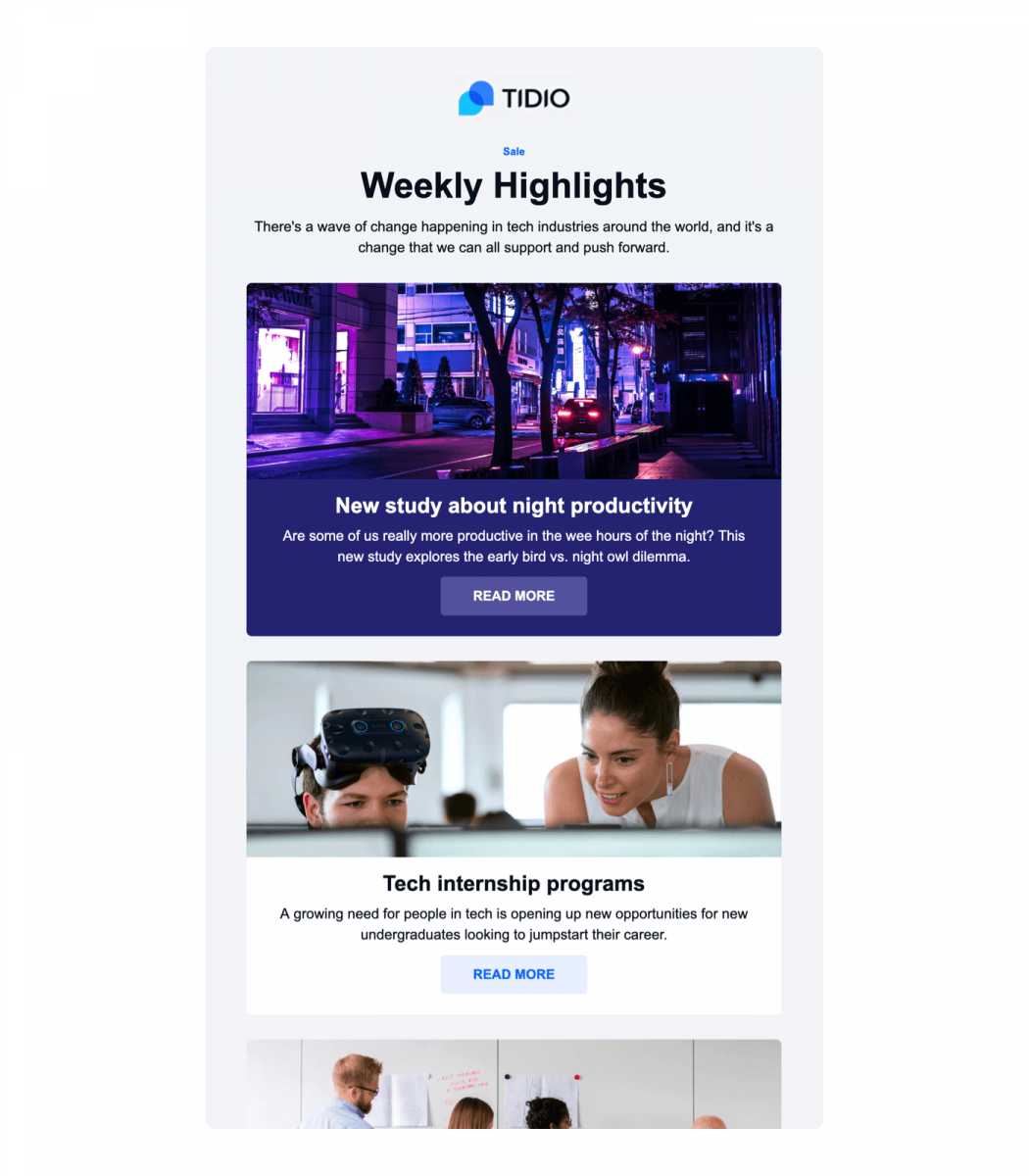 An example of newsletter email template for startups available in Tidio Mailing