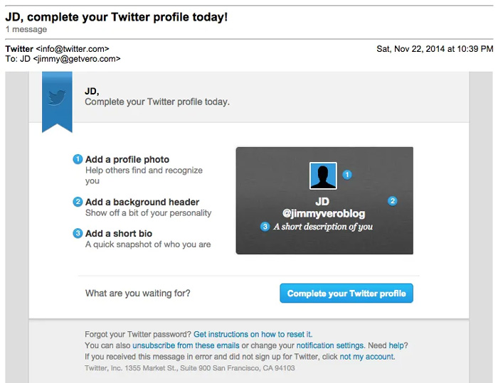 Customer onboarding email example from Twitter