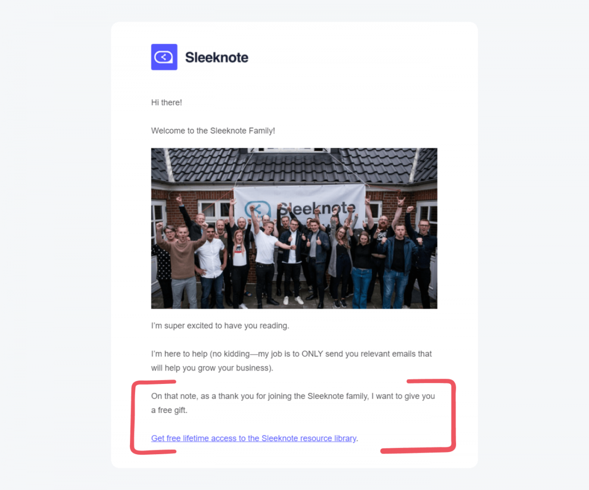 A welcome message example from Sleeknote