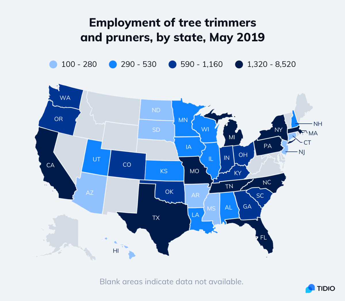 Map of employment of tree trimmers and pruners, by state, in May 2019