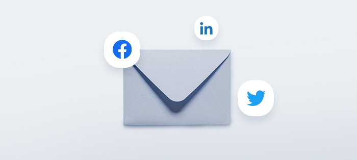 Envelope with social media icons