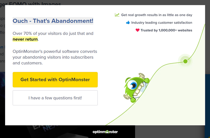 An exit-intent pop-up ad used by OptinMonster