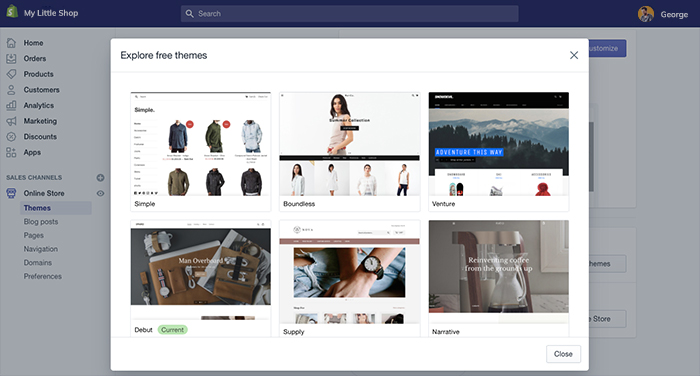 Free themes on shopify