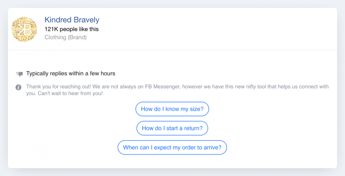 Another example of a Facebook chatbot