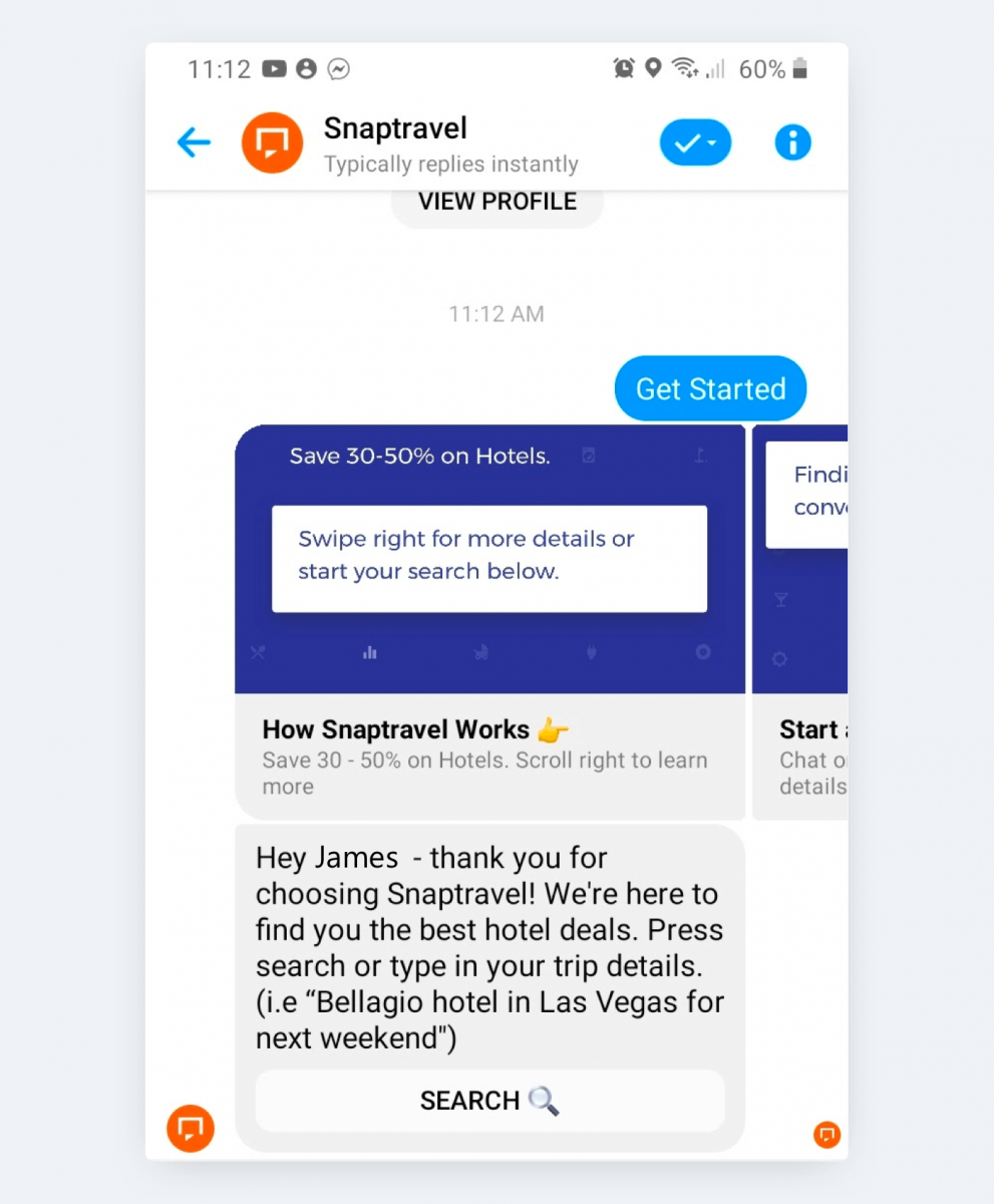 You can swipe products suggested by a Facebook chatbot