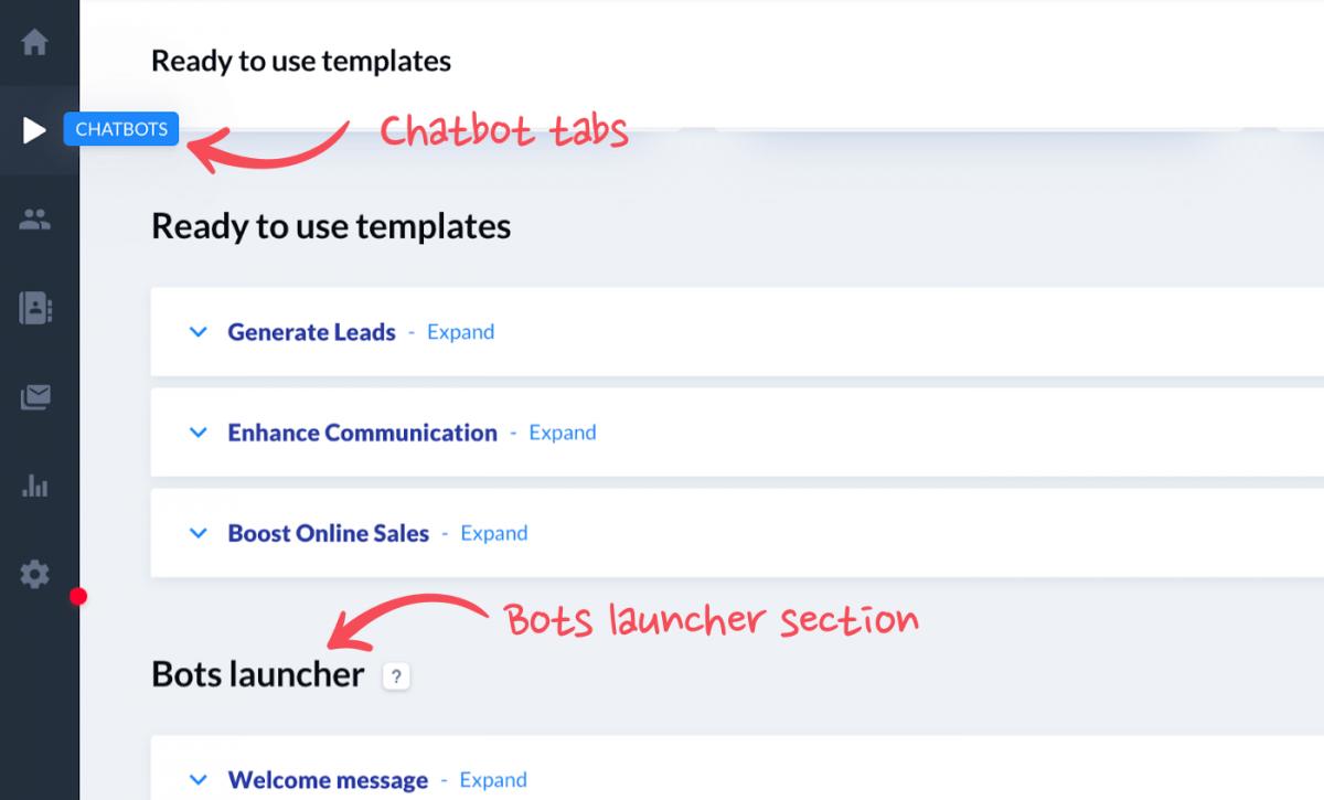A screenshot showing the panel inside a Facebook chatbot builder