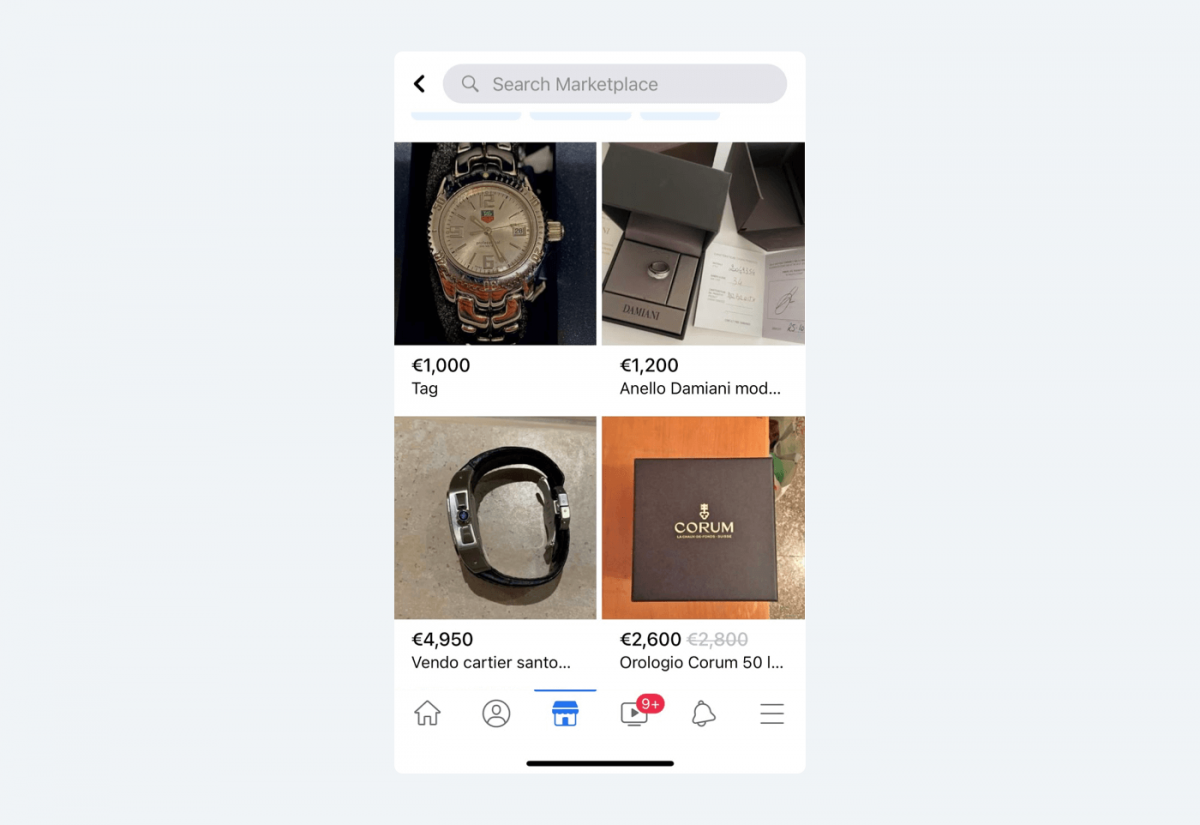 Image showing Facebook Marketplace products in a specific category.