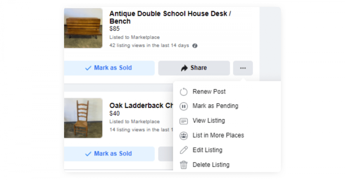 Image showing how to renew listing on FB Marketplace.