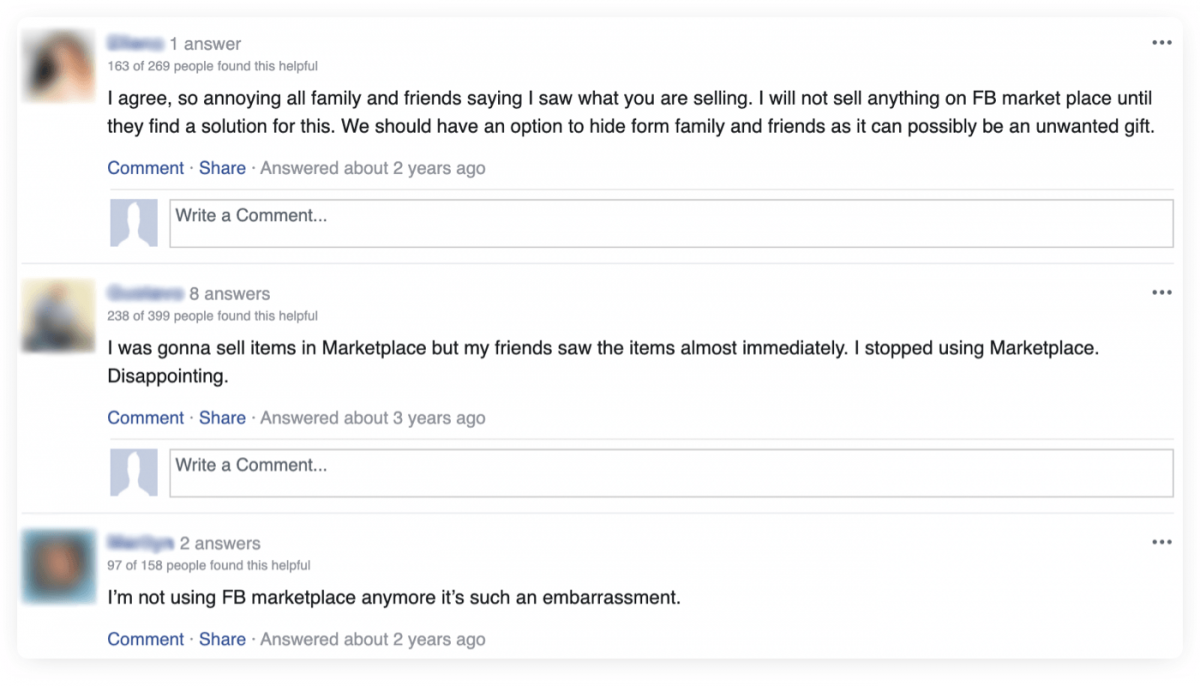 """Screenshot of opinions of Facebook Marketplace users, unhappy about the lack of """"Hide from friends"""" option, before it was launched."""