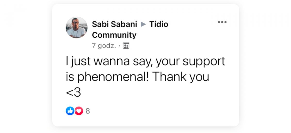 Tidio customer's post left on Facebook