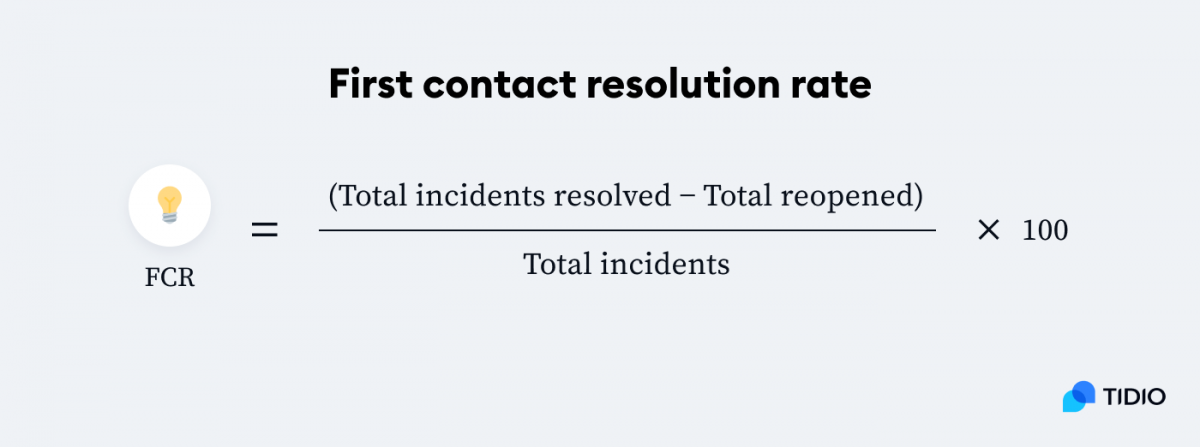 First contract resolution rate formula
