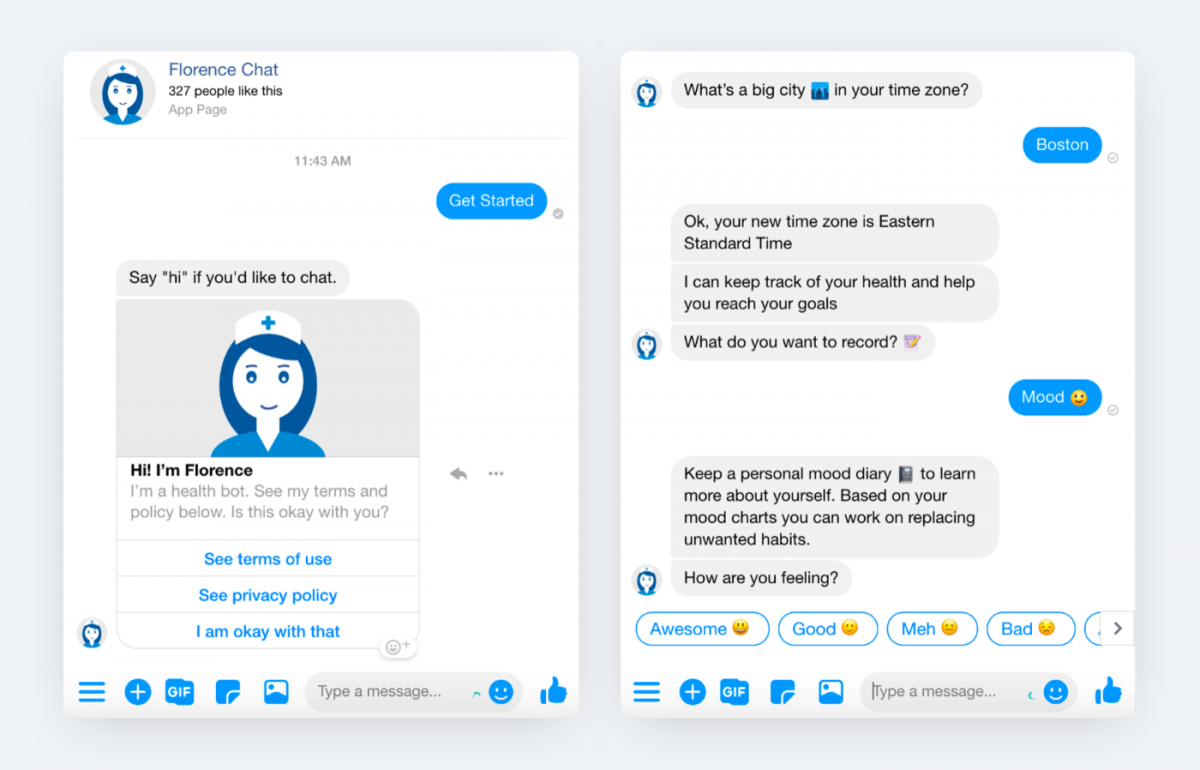AI chatbot conversation example - Florence