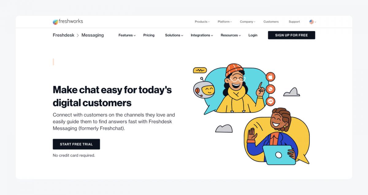 Freshchat's homepage