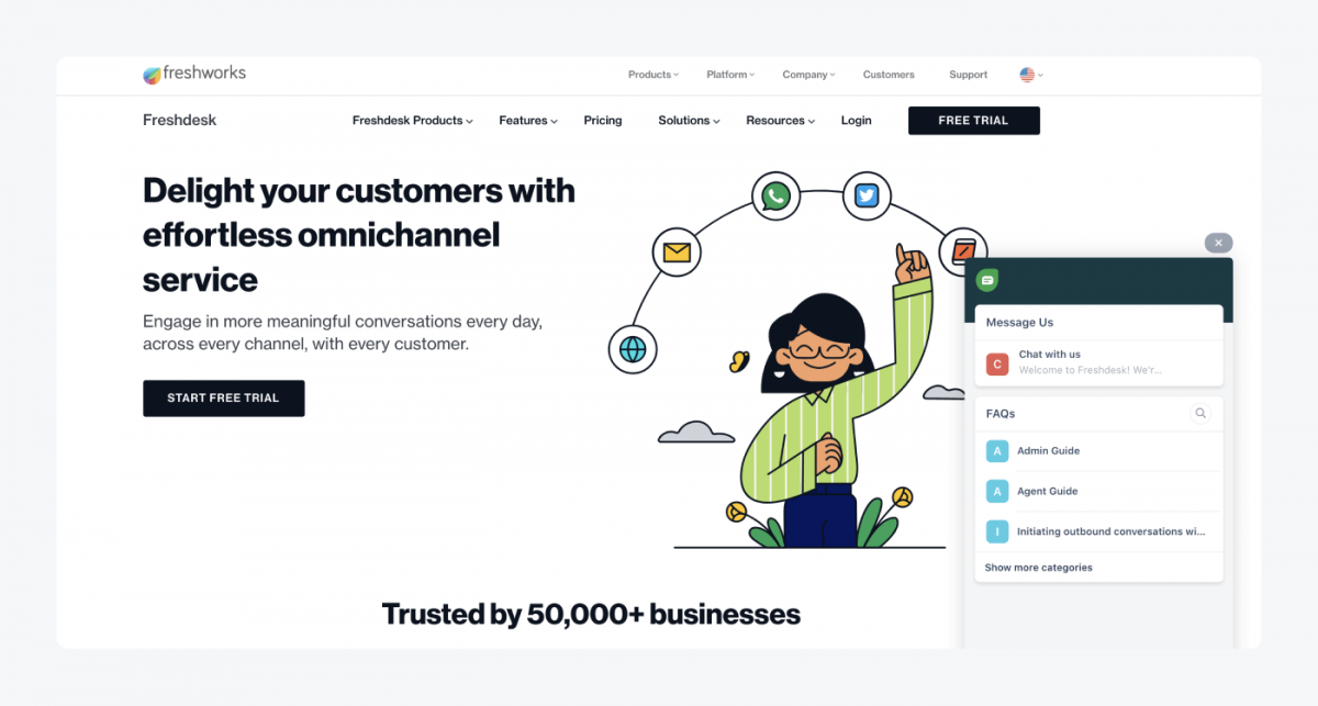 Freshdesk's homepage