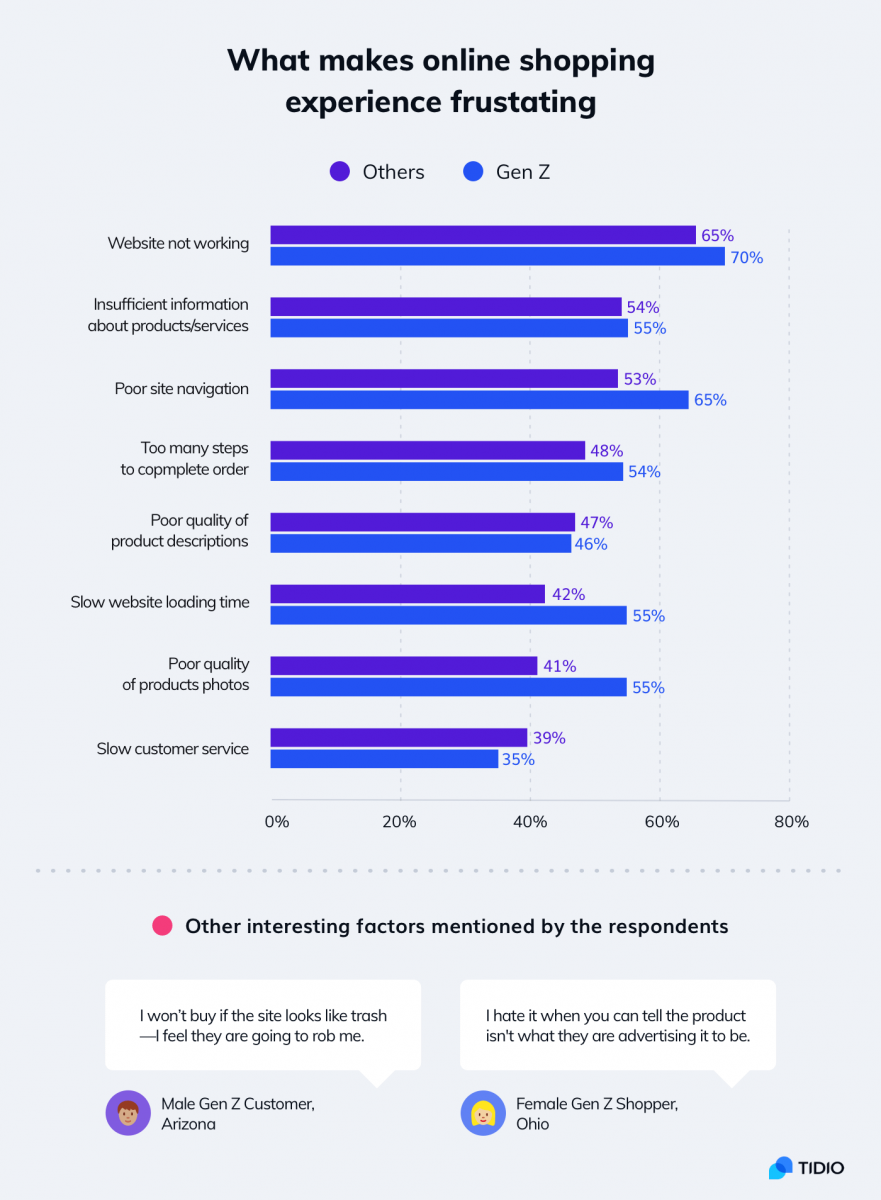 Customer experience statistics concerning the most frustrating aspects of online shopping